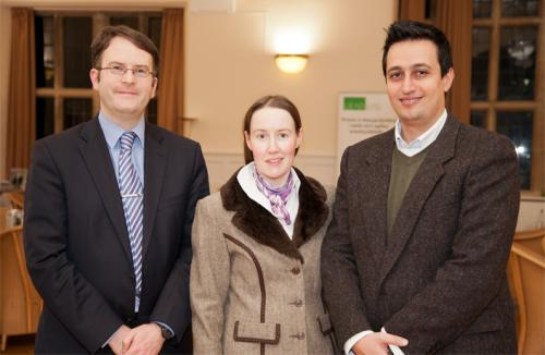 Dr Jasem Tarawneh (right), is pictured with Bangor lecturer Mark Hyland (left) and Bangor Law PhD student Tamara Bukatz)