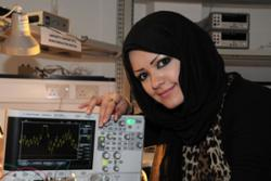 Amshah Aljeaidan, 3rd year Electronic Engineering Student from Kuwait in the new Donald Poirot  Electronic Engineering Laboratory.