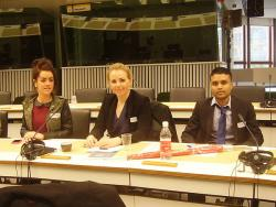 Belinda Bambrick (Law), Kateryna Vlada (Law) and Hans Seesarun (Business) listen to presentations by the Committee of the Regions and the Economic and Social Committee in the Delors building, Brussels.