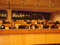 Students listen to presentations in the Delors building, Brussels, in a typical setting for meetings of the advisory committees of the European Union.