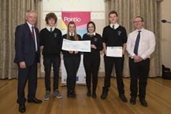 Holyhead Winners (left to right) John Hughes Vice-Chancellor, George Jones, Amber Martin, Nichola Young, Tommy Evans, James Goodman (Deputy Director Pontio).