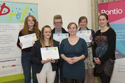 Ysgol Syr Thomas Jones Amlwch  (left to right) Lydia Challinor, Leah de Wolf, Michael Lewtas, Natalie Mathews (Profigator), Leia Tewnion, Kevanne Sanger (Profigator)