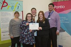 Ysgol Llangefni  (left to right) Ruth Pearson-Blunt (Profigator), Emma Williams (Profigator), Lowri Bright, Lowri Jones, Gavin Seynor (Head of 6th form Ysgol Llangefni)