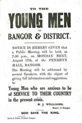 A poster advertising a recruitment meeting which took place in Bangor in August 1914.