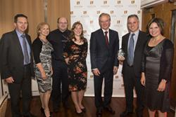 Left right: Colin Ridyard (CHEME), Professor Oliver Turnbull, Pro Vice-Chancellor, who introduced the Award; Lorna Tuersley & Catrin Plumpton (CHEME); Vice-Chancellor, Professor John G Hughes; Dyfrig Hughes (CHEME) & Janine Hughes of Liverpool University.
