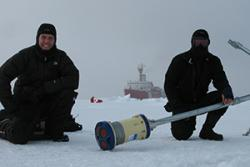 Deploying equipment  through the sea ice.: Image credit: Ben Lincoln