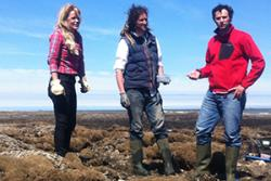 Countryfile presenter Ellie Harrison with research officer Steven Newstead and Dr Andrew Davies of the School of Ocean Sciences.