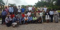 DL MSc Tropical Forestry students with lecturers and researchers from SENRGy, Makerere University, and the Forestry Research Institute of Ghana, July 2017:  (© Genevieve Agaba)