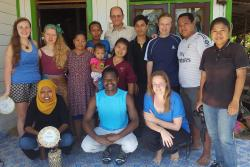Bangor University students and staff with the family that hosted the group in Temula village, East Kalimantan. : © Genevieve Agaba
