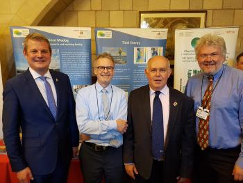 Steward Andrew MP, Prof. Colin Jago from Bangor University, Albert Owen MP and Prof. David Thomas at the NRN-LCEE stand on Angelsey Day