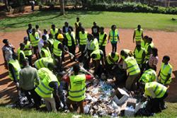 Volunteers sort rubbish collected at Makerere University.