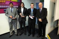 Oral Presentation Prize Giving (L to R):  Moneer Mohsen, James Maskery and Mark Pitts and Dr Malcolm Jones (RSC North Wales Section)