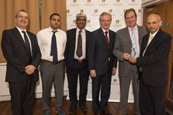 Left-right: Prof David Shepherd, Pro Vice Chancellor who introduced the Award; Jaydeep Korde, ValueFormLtd; Prof Keshavan Niranjan, Reading University; Vice Chancellor, Professor John G Hughes; Rob Elias, BioComposites, Prakash Korde, ValueForm Ltd.