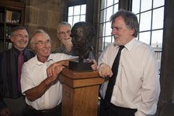 left-right:   Mel Williams, Cymdeithas Bob Owen, Owain Tudur,  son of Bob Owen, who unveiled the bust, sculptor, John Meirion Morris and University Archivist, Einion Thomas.