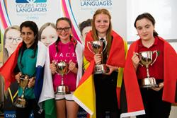 Spelling Bee 2017 winners: Gabriella Razie, from Ysgol Bro Edern  (Cardiff) in the French category; Melys Thomas, from Ysgol Maes Garmon (Mold) in the Welsh Second Language category; Ella Parry, from St Martin's school  (Caerphilly) in the Spanish categor