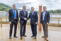 Left-right: Prof Tim Woodman, Head of the School of Sport, Health & Exercise Science; John G Hughes, Bangor University Vice-Chancellor; Steve Davies MBE, Chief Executive, Surf Snowdonia; Phil Nelson, Business Development Director, Surf Snowdonia.