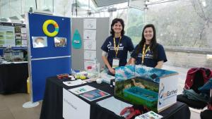 Team Nessie; Swansea University PhD student Chloe Robinson and Research Fellow Tamsyn Uren-Webster, ready to meet the crowds at their stand.