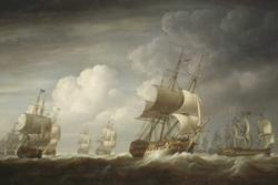 A fleet of East Indiamen at sea.: Nicholas Pocock [Public domain], via Wikimedia Commons