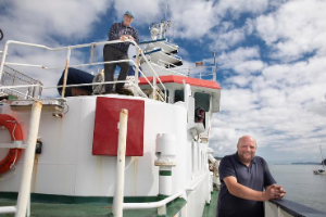 Dave Mills Anglesey maritime historian (left) and Prof Mike Roberts of Bangor University's School of Ocean Sciences aboard Bangor University's survey ship Prince Madog