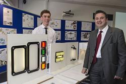 Adam Edwards (left), Product Design student with Huw Lewis AM