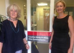 Law graduate Alex Gibson (right), pictured with Liz Du Pré of Bangor University's Miles Dyslexia Centre.