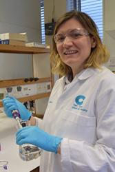 PhD student Alice Heeroma at work at one of the School of Chemistry's labs.