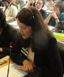 Dr Alison Mawhinney addresses the UN Human Rights Committee