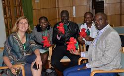 Julia Jones with Judith Bala, George Ndege (distance learning MSc Tropical Forestry student), Pauline Bala and Raila Odinga Junior (BA Accounting and Finance 2002)