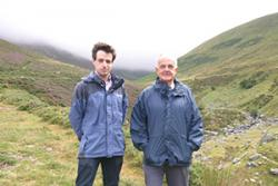 Richard Dallison and Dr Gavin Gatehouse at the site of the planned community-owned hydroelectric project on the Anafon valley near the village of Abergwyngregyn.