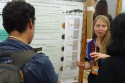Anita discussing her research poster at the annual meeting of the Association of Tropical Biology and Conservation in Madagascar recently.