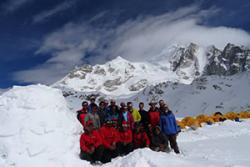 The expedition group at base camp.