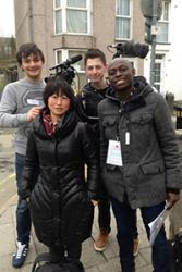 Delegates from the film training programme out on location filming in Bangor.