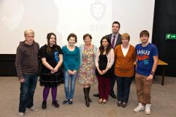 BPP Lecturer Alison Courtier (centre) with Stephen Clear, BPP-Bangor Liaison Officer (back) and members of the Student Law Society and Street Law teams.