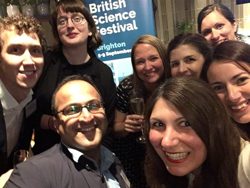 Ivvet Modinou (Director of British Science Festival) takes a selfie with all the winners at the Festival programme launch party.