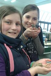 Holding leopard geckos at part of last year's event are Robin Scanlan (left) and Megan Elias.