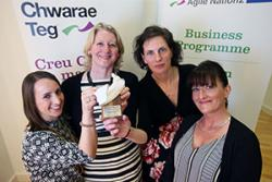 Human Resources staff (from left) Catherine Lees, Nia Meacher and Dr Alison Wiggett with a representative of Employer of the Year Award sponsors, Highgrade Recruitment.: © Chwarae Teg Womenspire Awards 2016