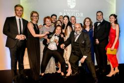 The Bangor team. representing all eight areas nominated for Awards, celebrate their success with the Award night's celebrity host, comedian, Omid Djalili