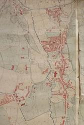 Part of one of the Penrhyn Collection maps of Bangor which  requires conservation work.
