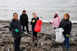Some of the students taking part in the Beach Clean