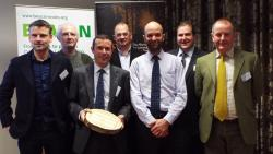 Andrew Mitchell, Natural Building Technologies; Dave Jenkins, Coed Cymru; Dr Adam Chalrton, Biocomposites Centre (BC); Graham Hilton, Alliance for Sustainable Building Products; Gary Newman, Plant Fibre Technology; Dr Robert Elias, BC, Dave Edwell, NRW.