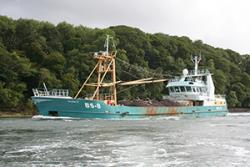 One of the Bangor Mussels Producers' Association  fleet of mussel boats comes up the Menai Strait.: Image supplied by Bangor Mussels Producers' Association Limited