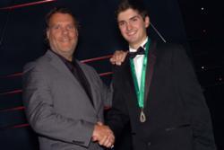 International Opera star Bryn Terfel awards the Scholarship to Huw Ynyr.