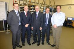 L-R: Damian Kelly, Croda; Dr Ray Davies, Bangor University; Professor John G Hughes, Vice-Chancellor; Dr Adam Charlton, Bangor University and Paul Vanden, Branden Scimed.
