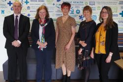 Swansea University Registrar Andrew Rhodes, Deputy Minister Julie Morgan,  Professor Vanessa Burholt, Director of CADR and Associate Directors of CADR Professor Gill Windle, of Bangor University and  Dr Rebecca Sims, from Cardiff University.