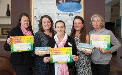 Some of the participants with their Creative Conversations certificates, with Dawn Holt, Commissioning Manager, Flintshire County Council, and Jen Roberts, from the Creative Conversations research team.