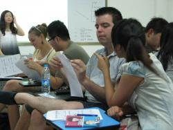 Stephen and partner Cherry in Chinese class