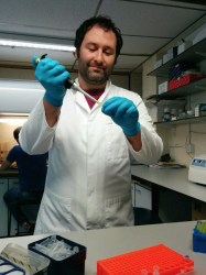 Dr Chris Staples in his lab.