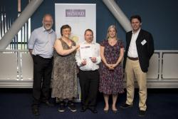 Anne Collis, second from left, with colleagues from Bangor University and Barod, winners of the Collaborative Paper competition