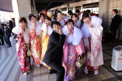 Coming of Age Day is celebrated in Japan, with many young women choosing to wear a traditional costume. : Courtesy Flikr