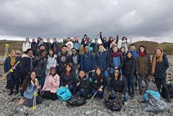 The international students who took part in the beach clean.
